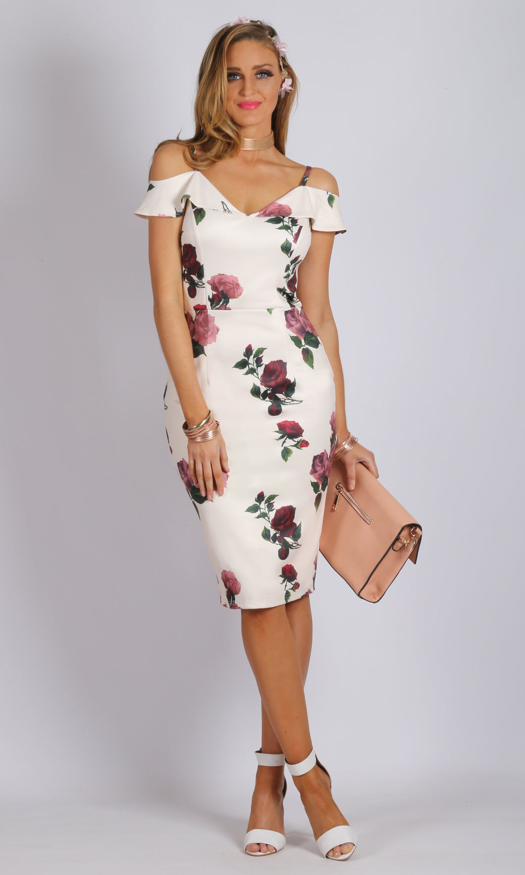 Drop Ruffle Shoulder Floral Midi Dress