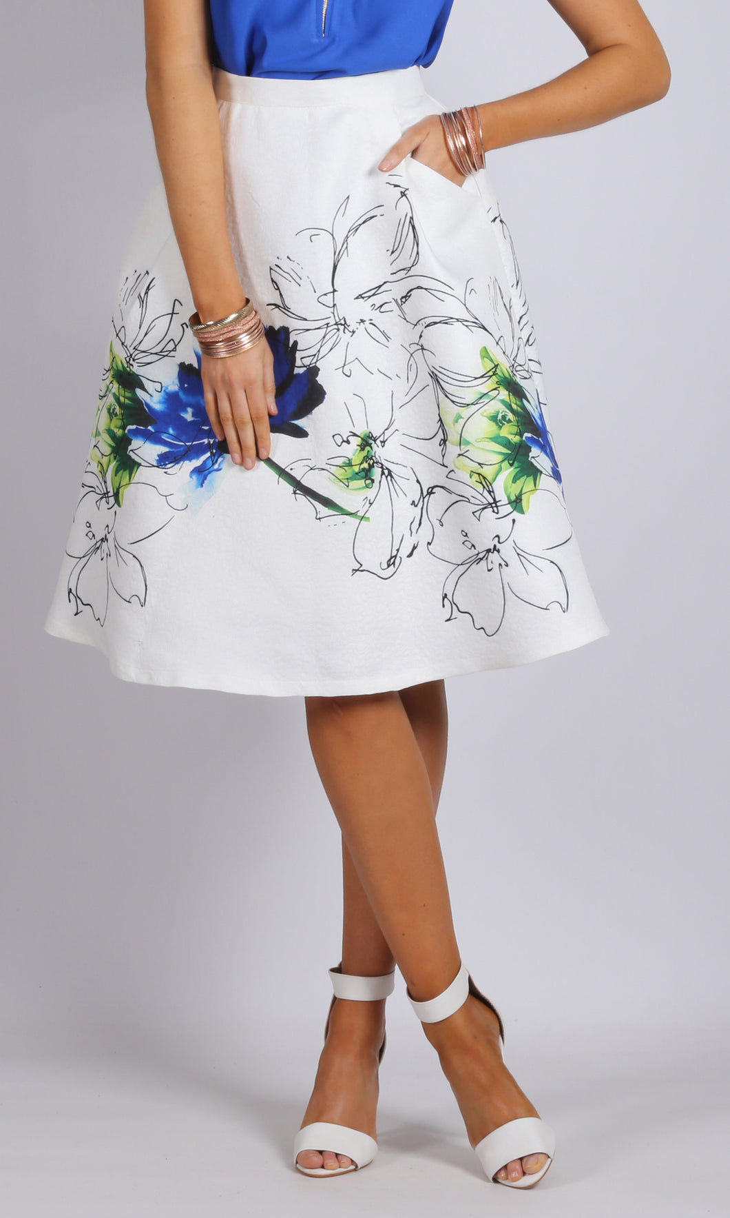 Front Pockets A line Floral Skirt