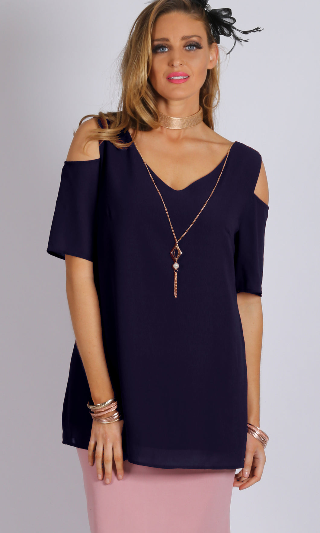 Cold Shoulder Top with Removable Necklace Hardware