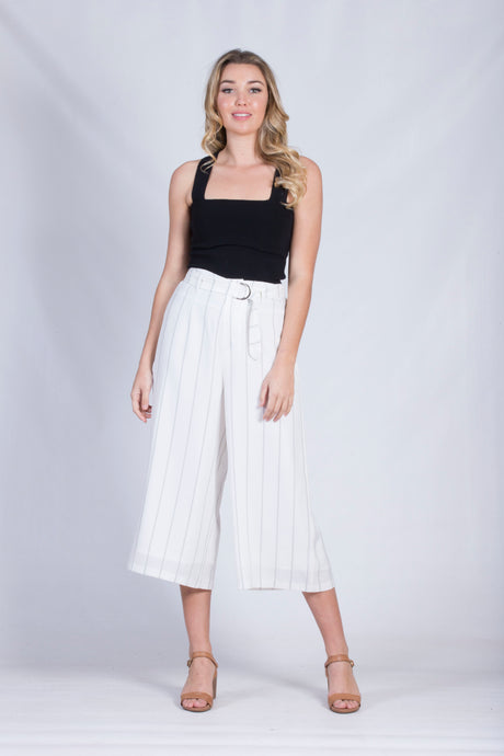 VY00313SS Stripe Wide Leg Cropped Pant (Pack) New Arrival