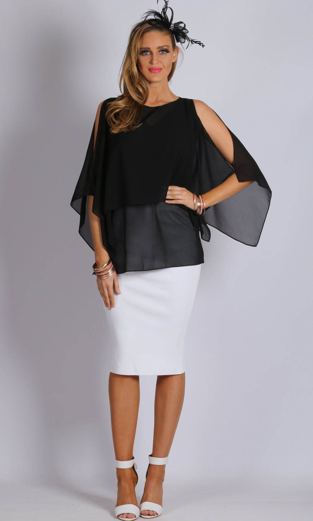 Chiffon Cold Shoulder Overlay Top