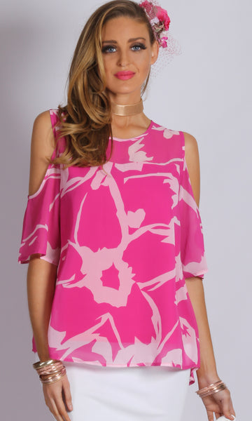 VS7203TB Fuchsia Cold Shoulder Chiffon Top (Pack) On Sale