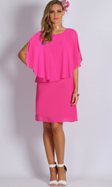 HS11711-1NC Chiffon Pink Overlay Dress (Pack)