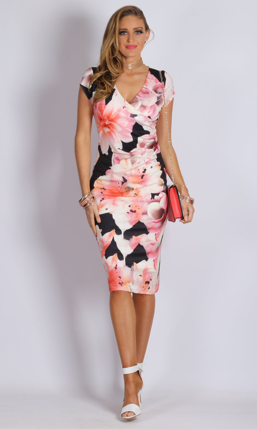 Wrap Front Body Con Dress