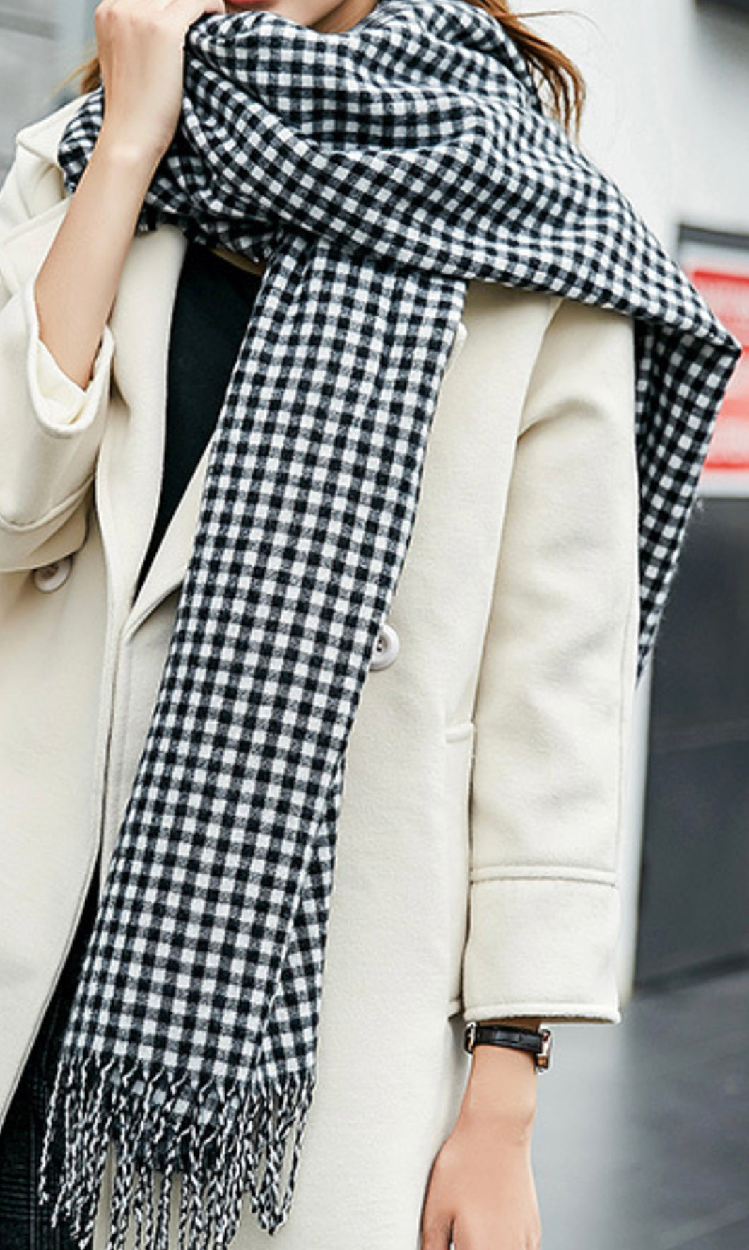 L22SS Black & White Checked Blanket Scarf (Pack)