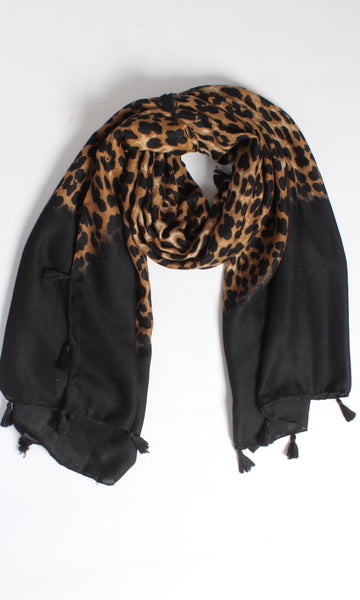 L13SS Leopard & Black Ombre Scarf with tassels (Pack) New Arrival