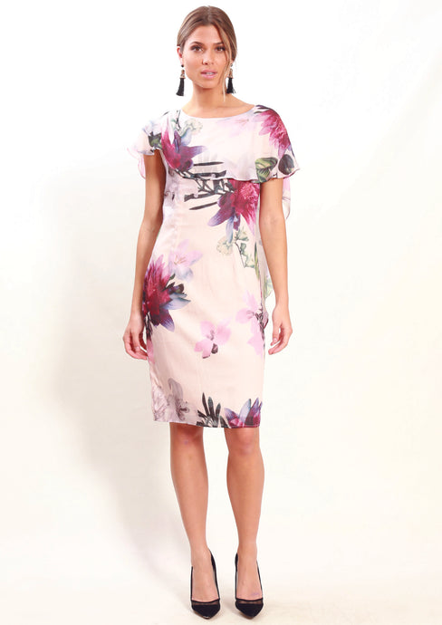 LA0030TB Pink Floral Chiffon Overlay Dress  (Pack) New Arrival