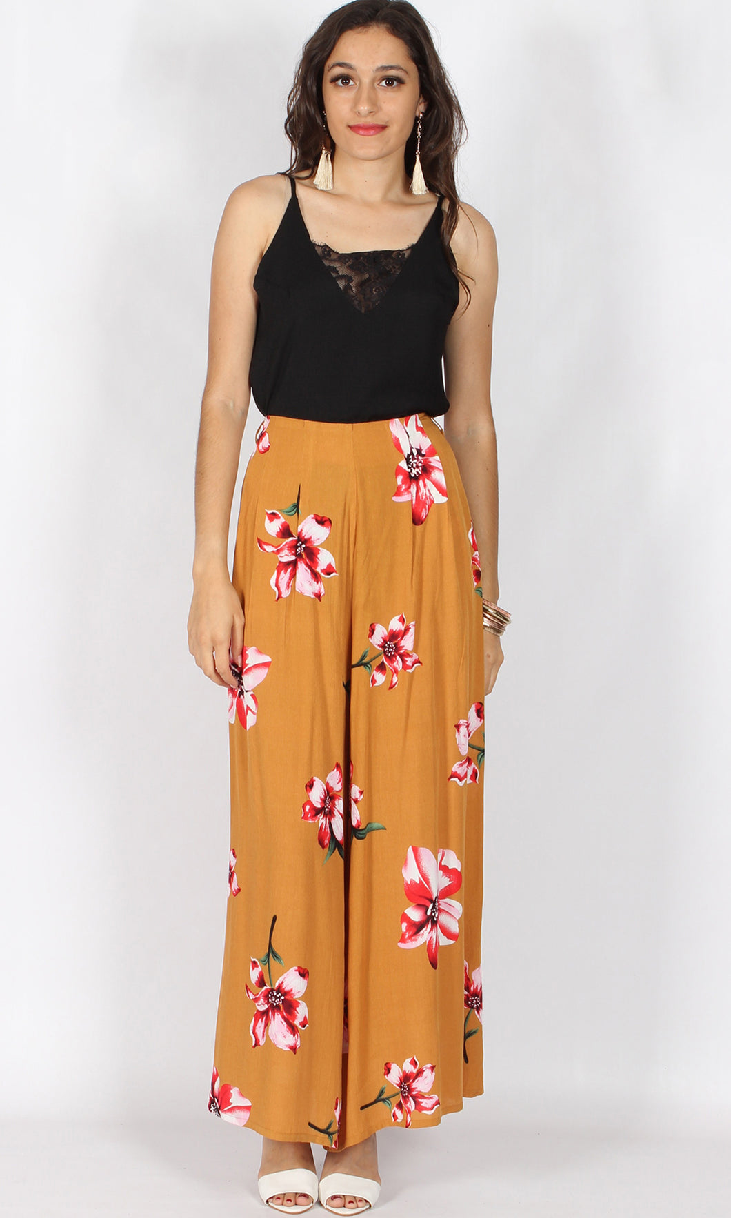 LV364-4SS Mustard Floral PALAZZO PANT (Pack)
