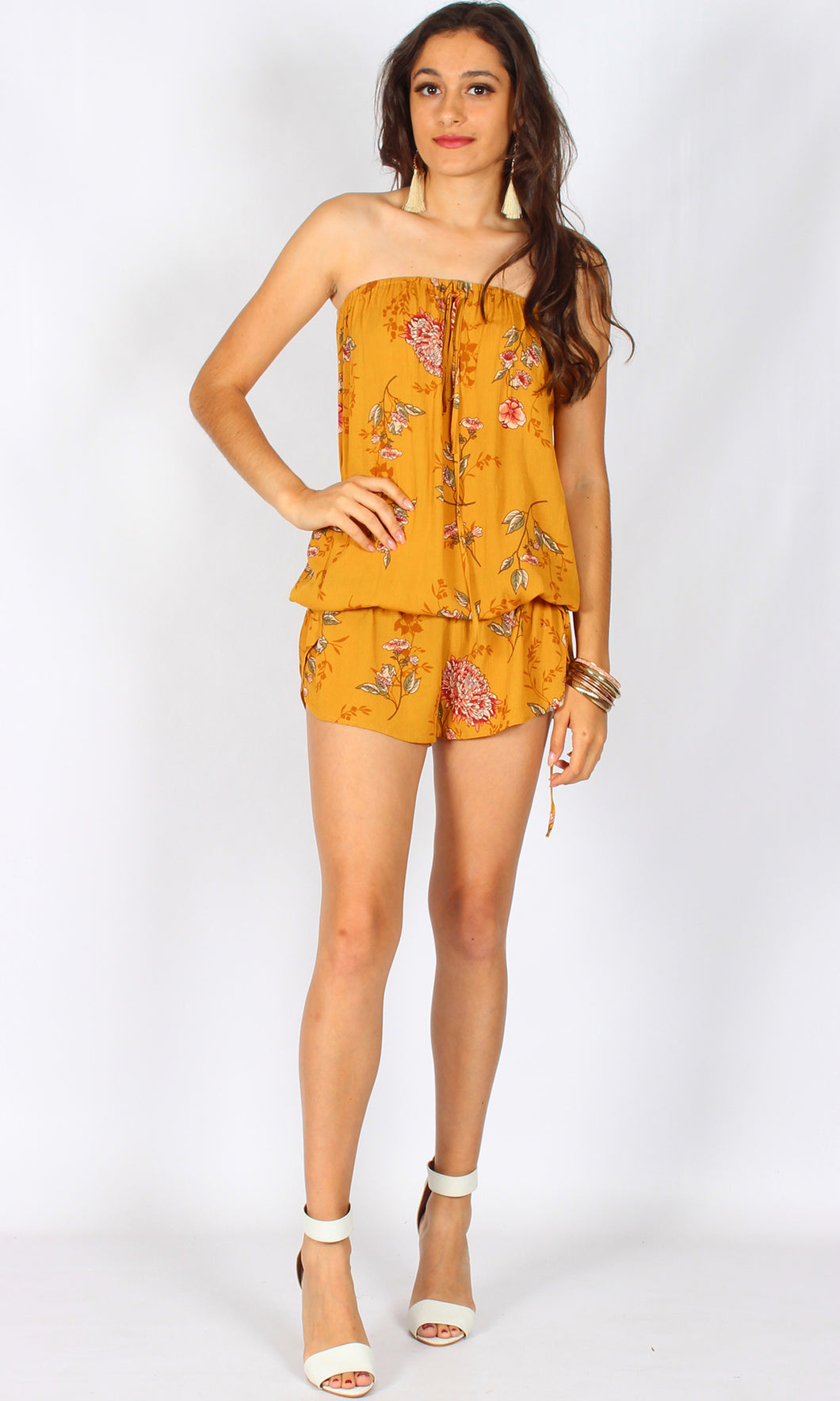 LV777-2SS Mustard Strapless Floral Playsuit (Pack)
