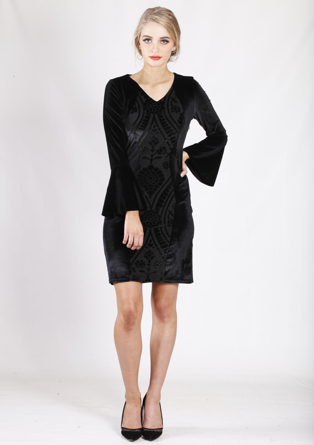 ZW16496NC Long Contrast Sleeve Dress (Pack)
