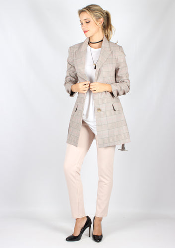 YW1726SS Beige Checked Blazer (Pack) On Sale