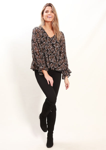 LA0084SS Peacock Print Top (Pack) New Arrivals