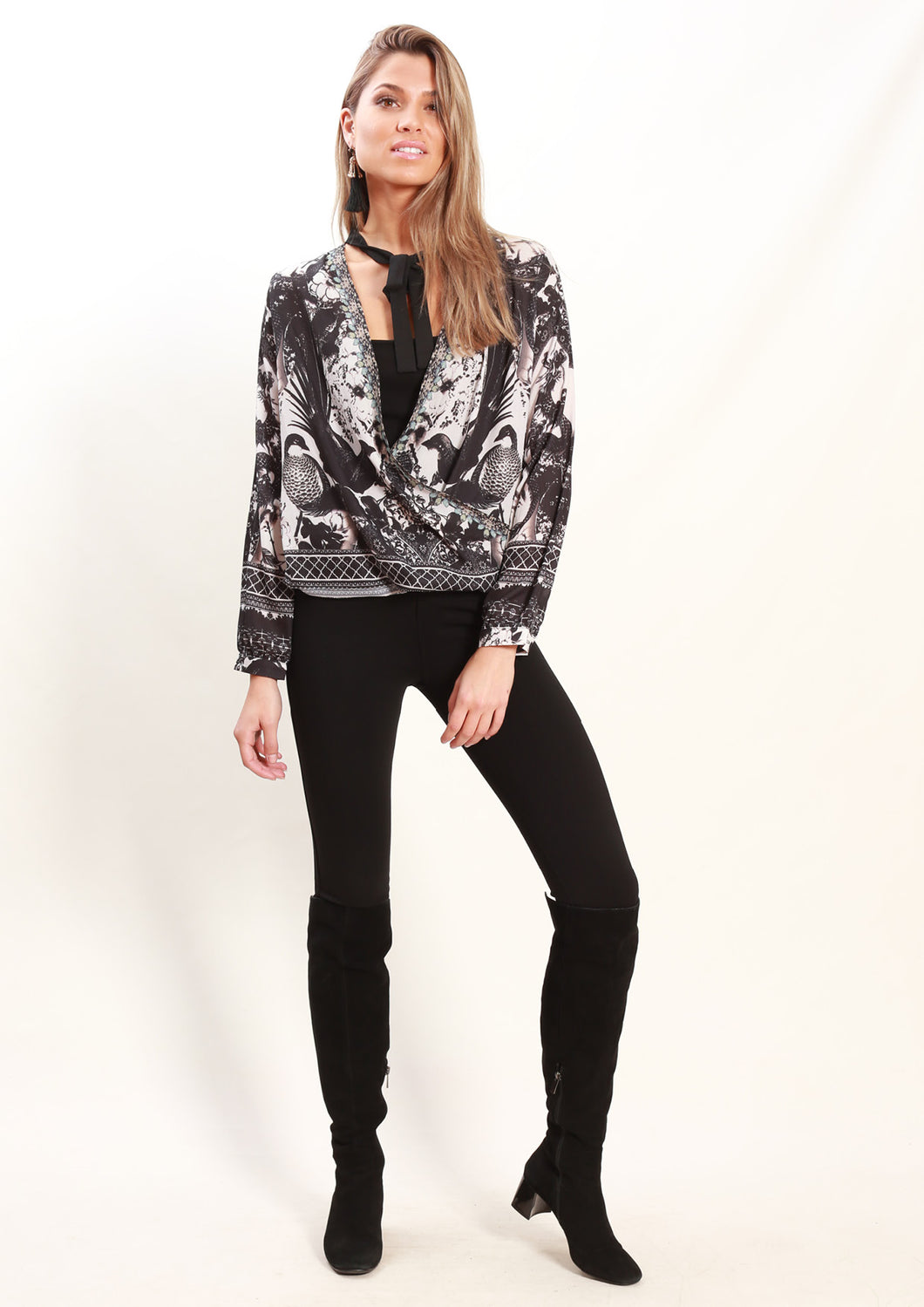 LV961-5SS Ink Painting Print Top (Pack)