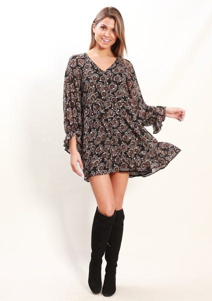 LA0085SS Peacock Print Dress (Pack) New Arrivals