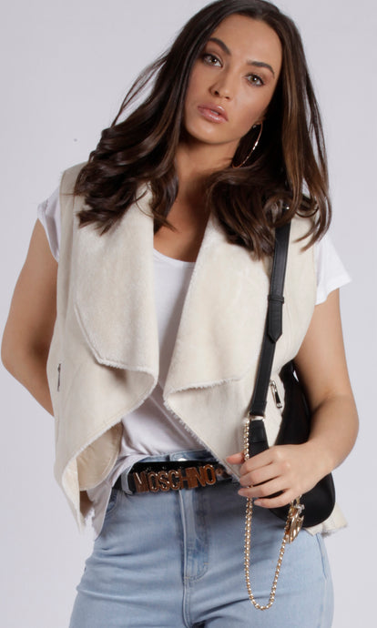 ZW16490SS Faux Shearling Waterfall Vest (Pack) New Arrival