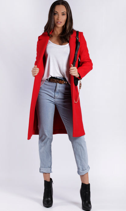YW1721SS Red Wool Lapel Coat (Pack) New Arrival