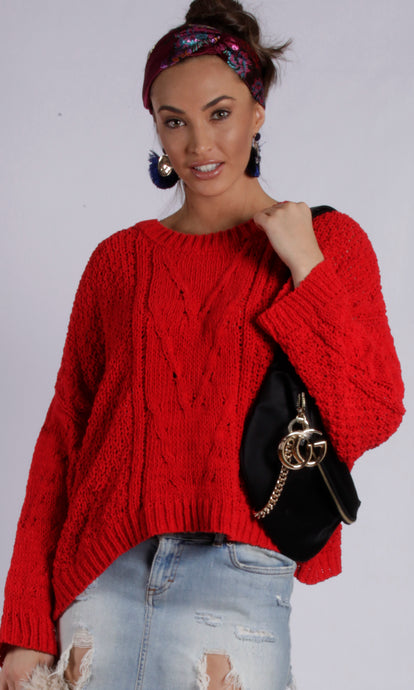 8A866SS Red Cable Knit Sweater (Pack) New Arrival