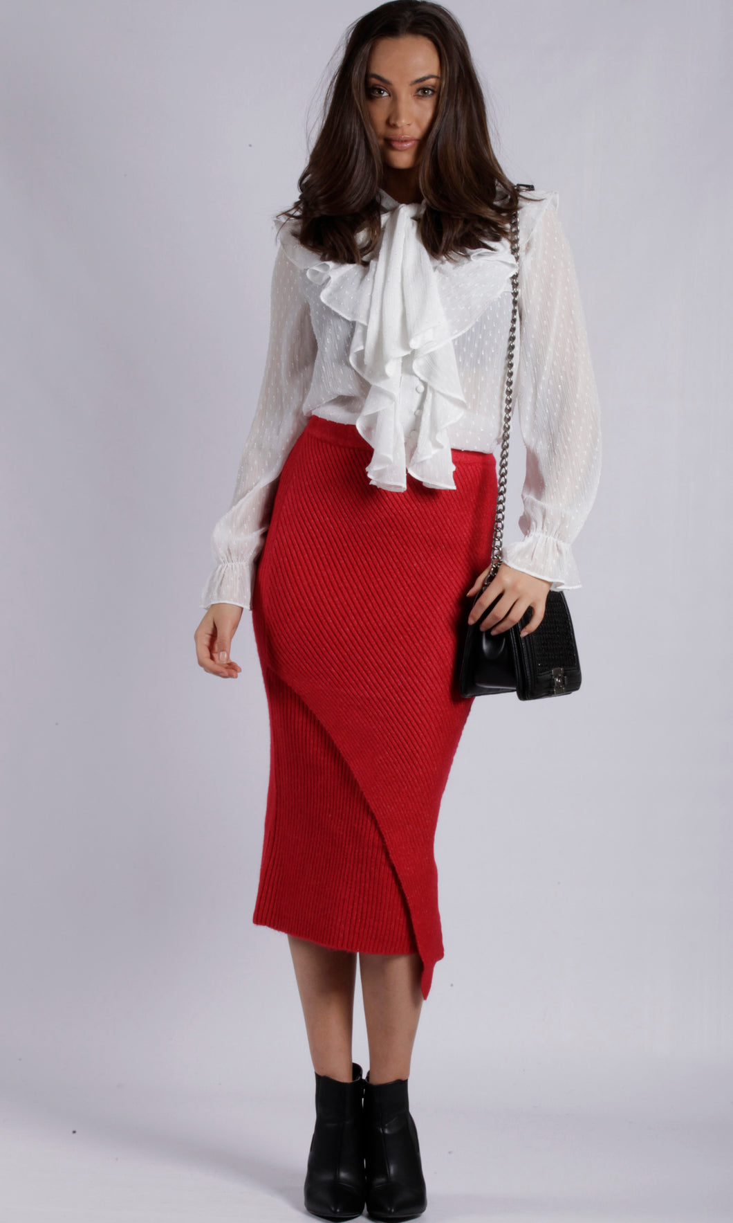 YW1731SS Red Rib-Knit Skirt (Pack)