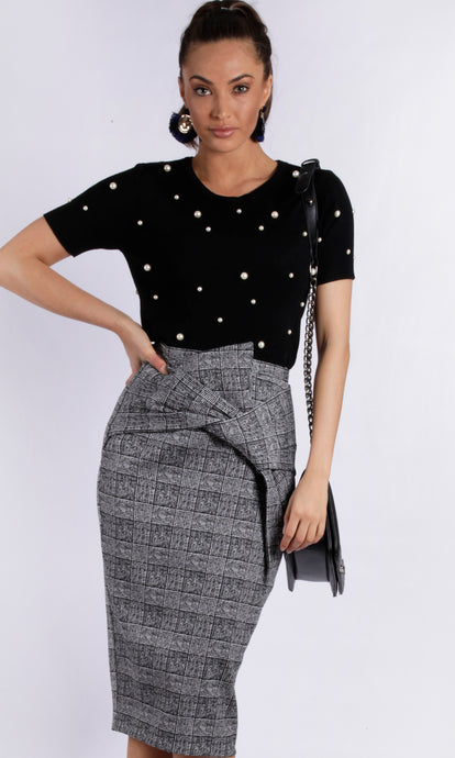 YW1728SS Vintage Inspired Tweed Pencil Skirt (Pack) New Arrival