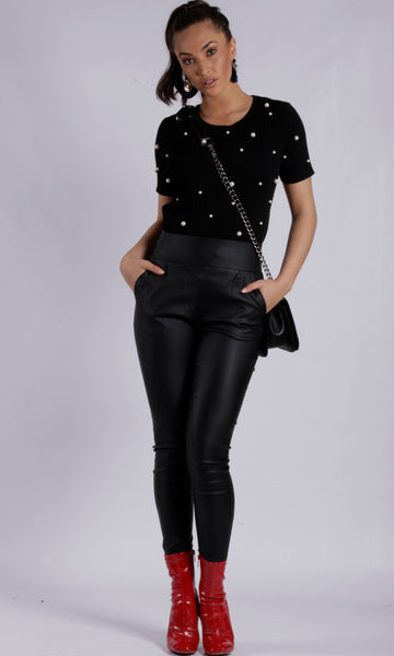 WV349TE Faux Leather Ponte Pant (Pack) New Arrival