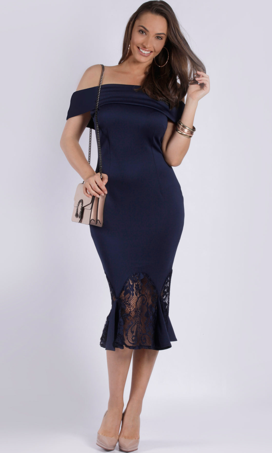 RV1020SS  NAVY OFF SHOULDER MIDI DRESS (Pack)
