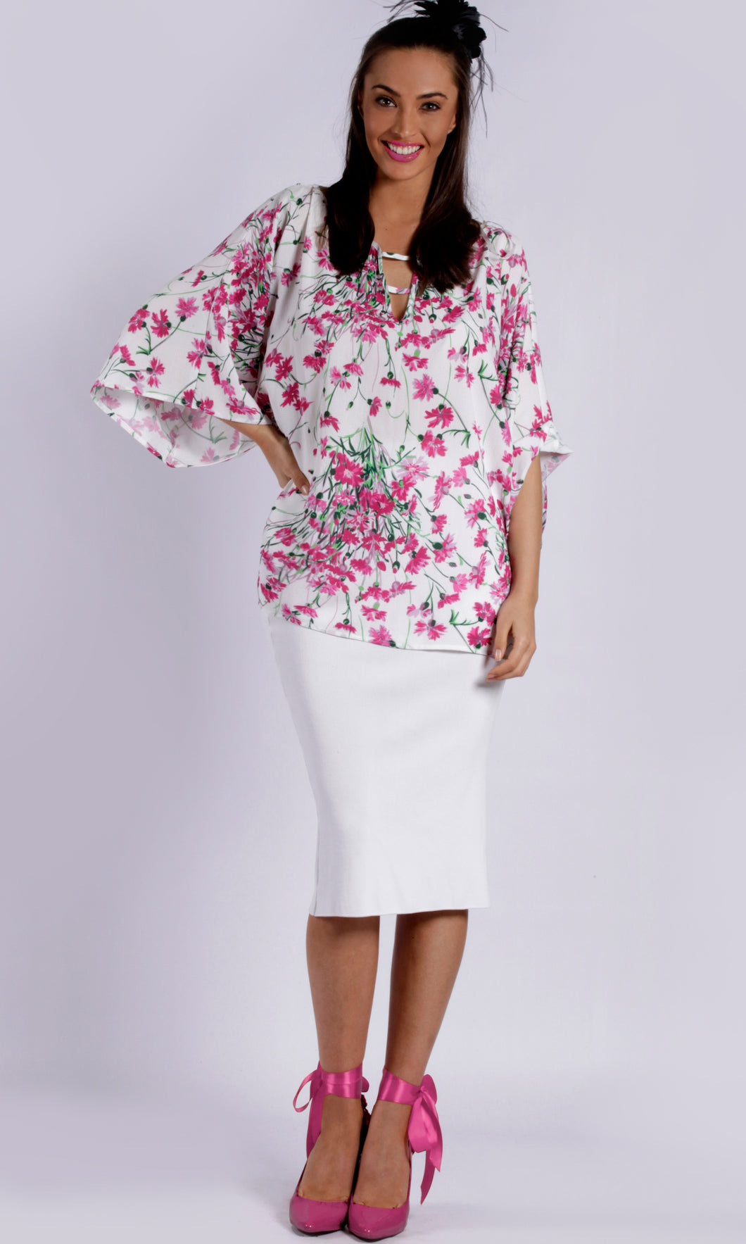 RV0179-10TB  RELAXED FIT PINK FLORAL TOP (Pack)