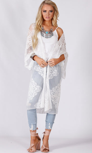 XW16161SS VINTAGE SHEER LACE THROW COVER- UP (Pack)