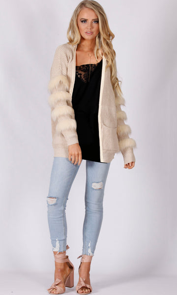 6011SS Knitted Cardigan with Fur Trim Sleeves (Pack) On Sale