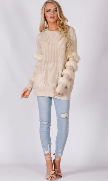 YW17081SS Knitted Sweater with Fur Trim Sleeves (Pack) New Arrival