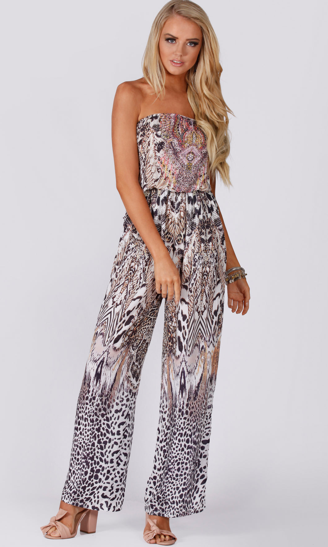 LV183-5SS Leopard Off- Shoulder Jumpsuit (Pack)