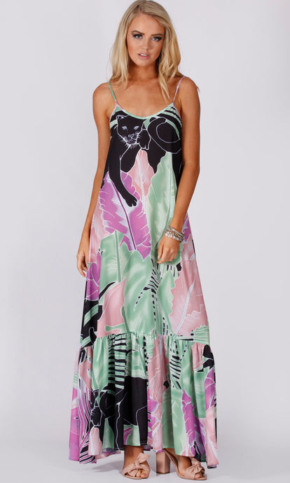 VS028-2SS Panther Print Boho Maxi Dress (Pack)