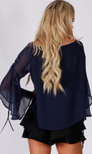 RV1154-1SS Navy Chiffon Tie Sleeve Blouse (Pack)