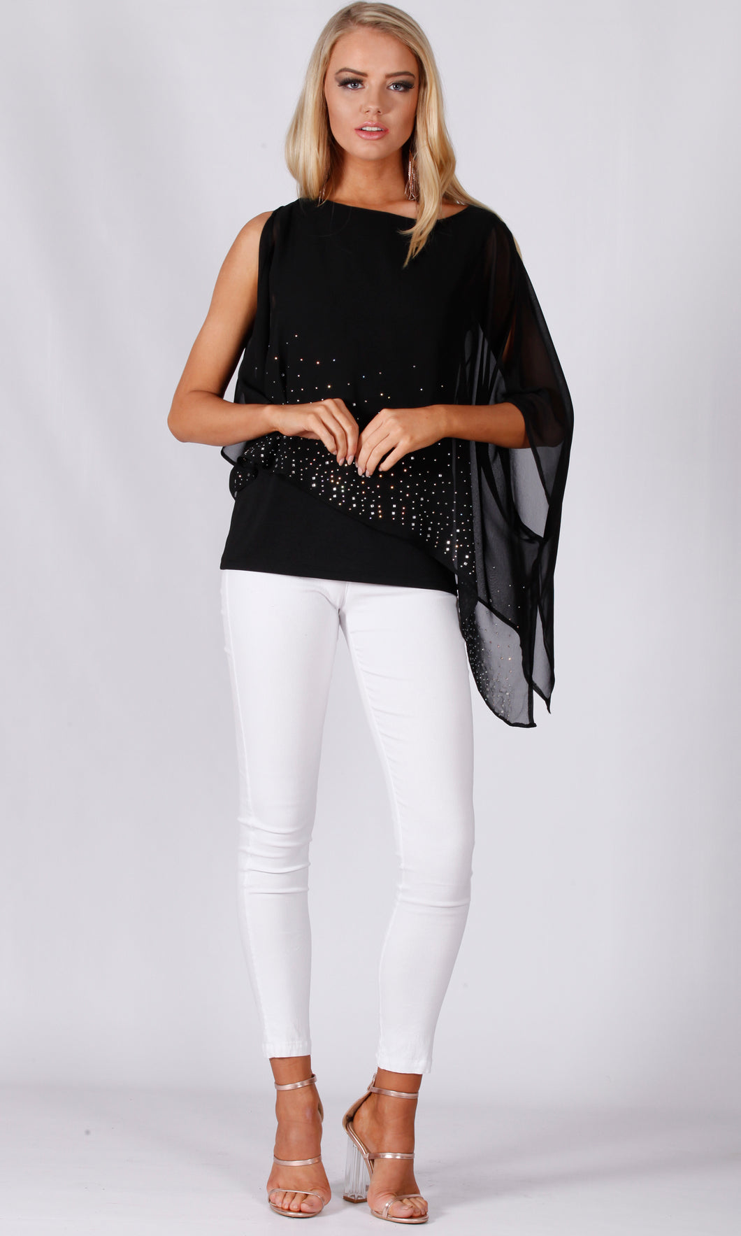 VS7290-1TB Diamonte Black Chiffon Layer Top (Pack)