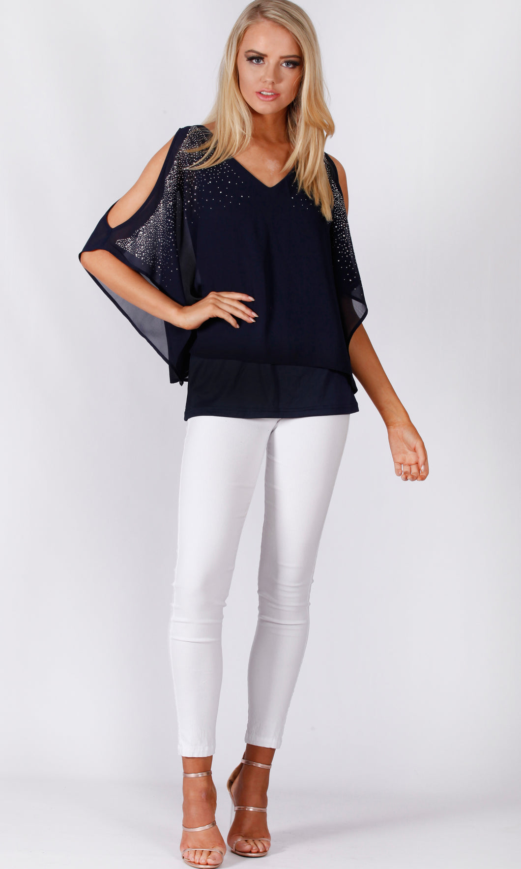 VS7316TB Diamonte Bat Chiffon Layer Top (Pack)