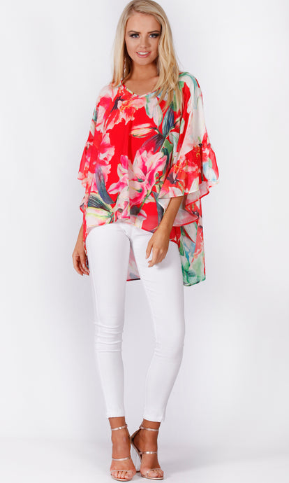 VS7167-1NC Red Floral Chiffon Top (Pack)