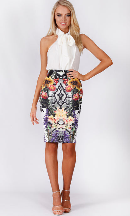 BS1116032-7TB Snake Floral Pencil Skirt (Pack)