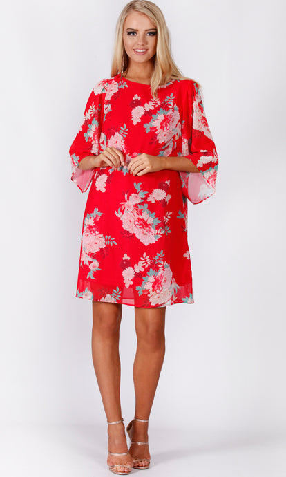 VS7315NC Red Floral Shift Dress (Pack)