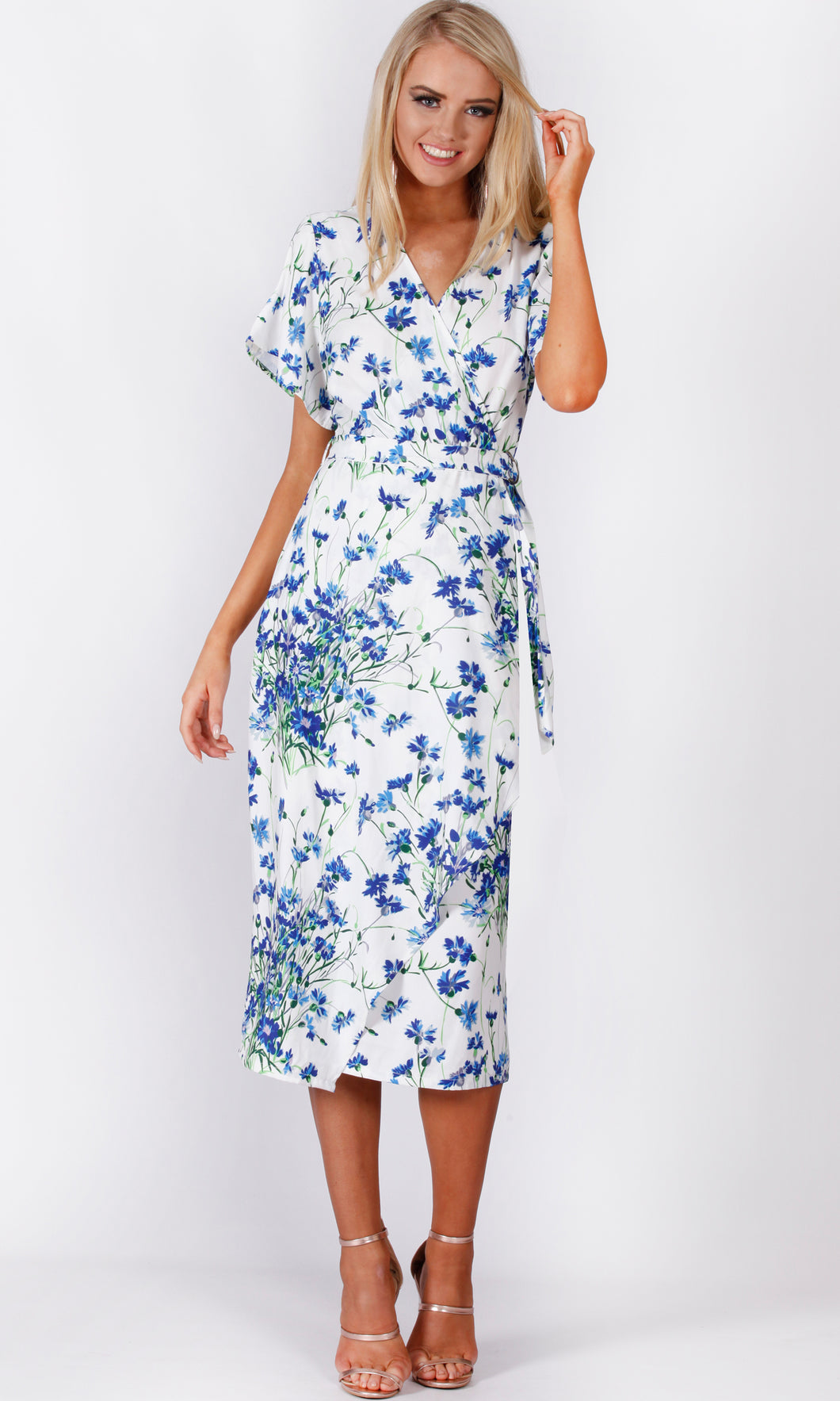 VS7273TB Blue Floral Wrap Dress (Pack)