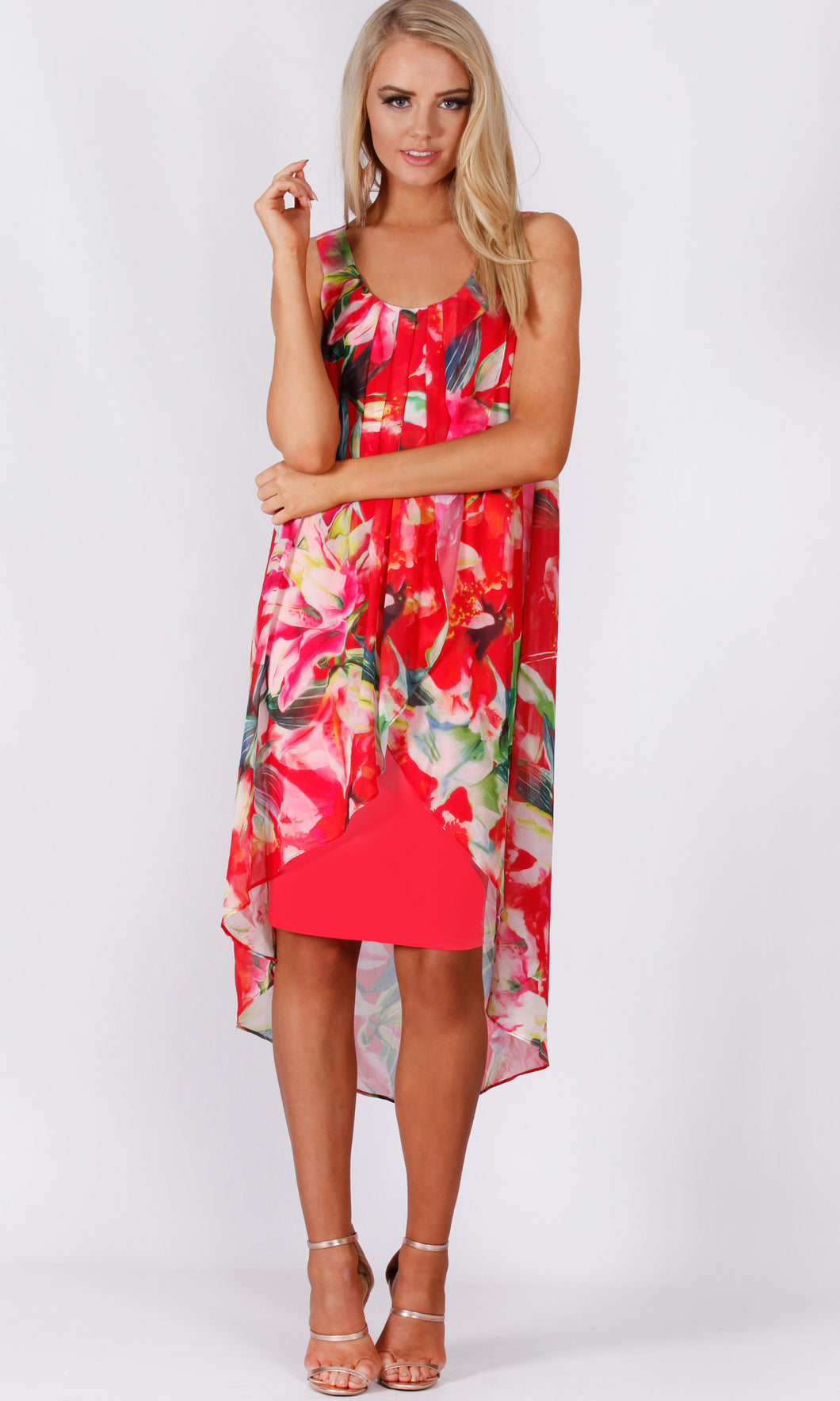 VS7276TB CHIFFON FLORAL OVERLAY DRAPING DRESS (Pack)