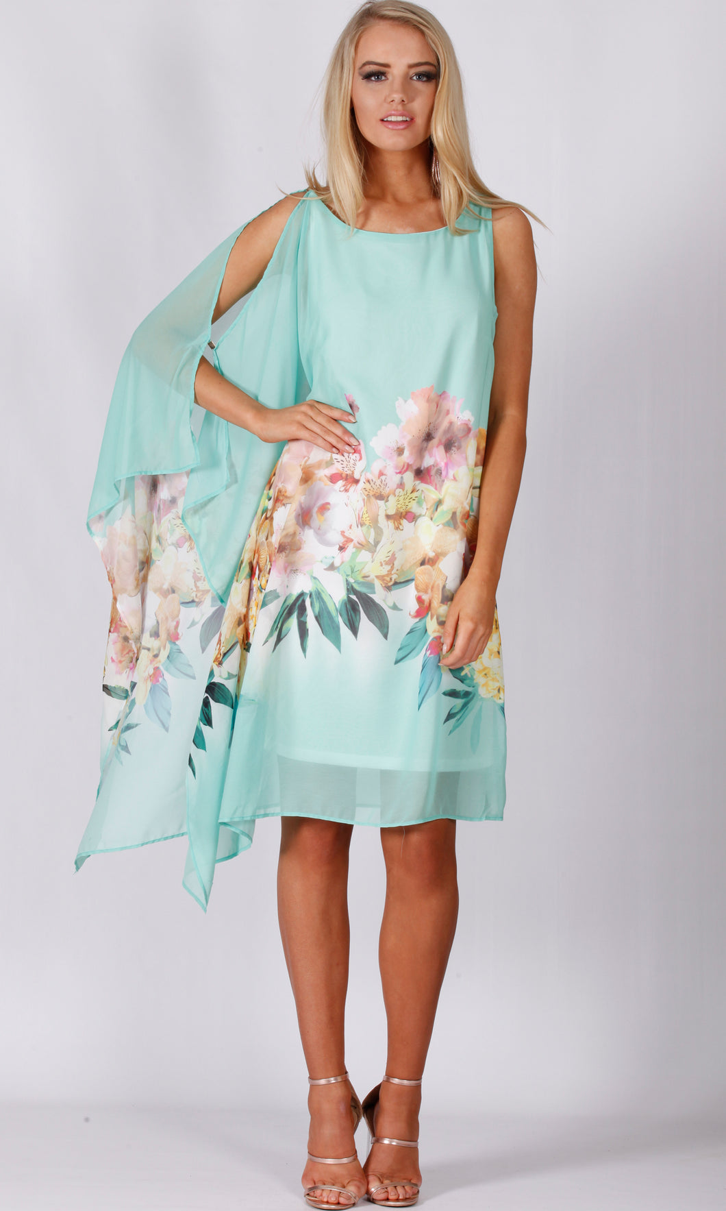 BS916051-4TB ASYMMETRIC CHIFFON SPEARMINT TUNIC (Pack)