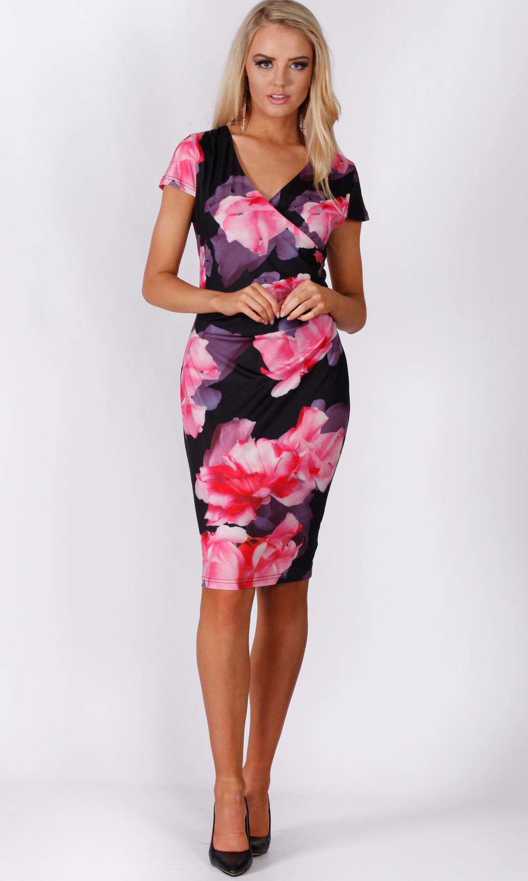 VS1114-3TB Pink/ Purple Floral Bodycon Dress (Pack)