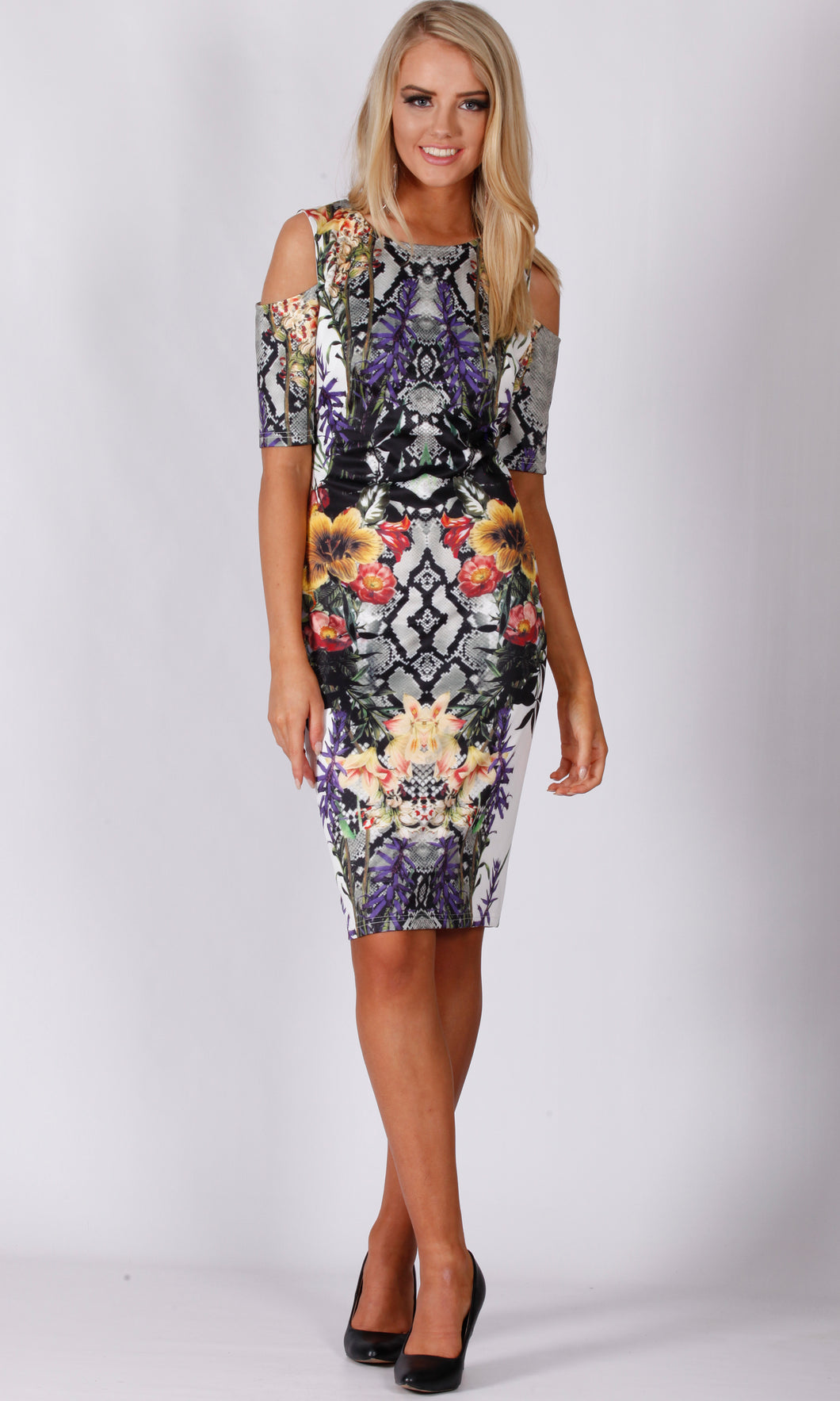 BS616001-9TB Snake Floral Midi Dress (Pack)