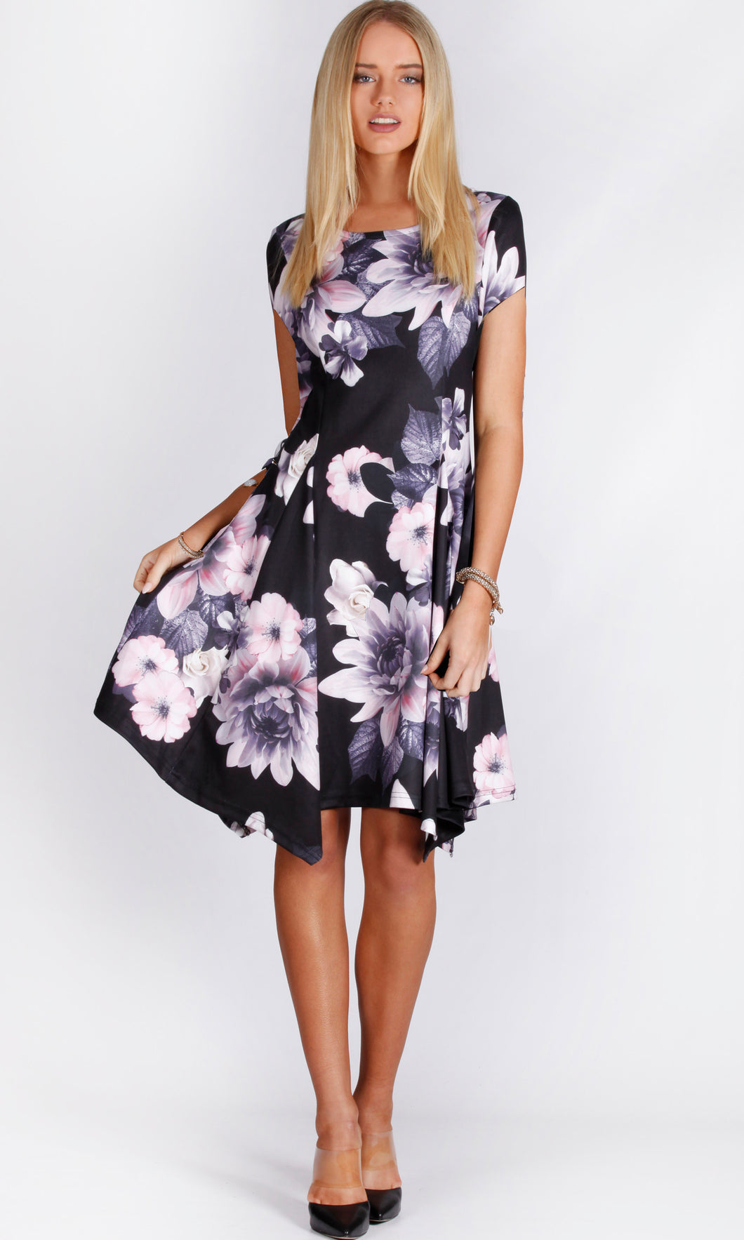 JS0051-2TB Cap Sleeve Floral Handkerchief Dress (Pack)