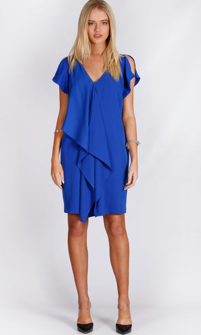 VS7287NC Front Draped Split Sleeve Dress (Pack)