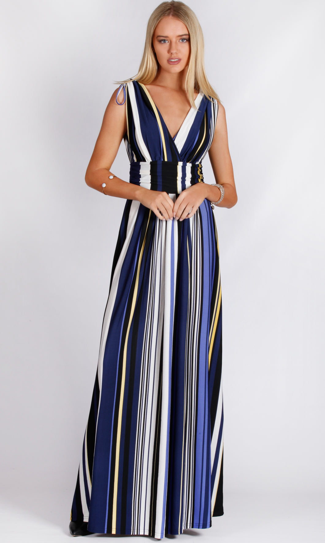 C101-21TB Blue Stripe Maxi Dress (Pack)