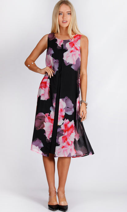 Black Floral Front Spilt Shift Dress