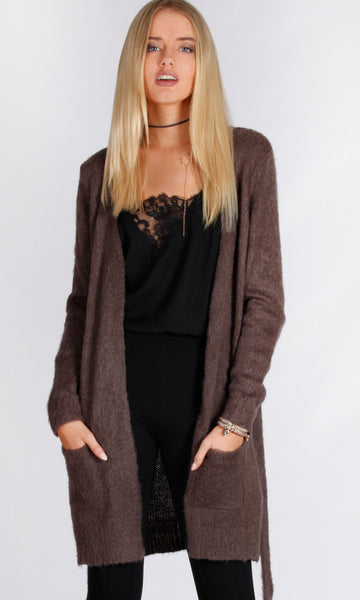 LY17338B Coffee Cardigan With Tie (Pack) On Sale