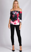 Off-Shoulder Black Floral 3/4 Sleeve Top