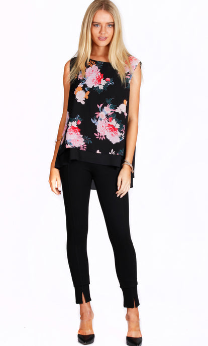 Black Floral Sleeveless Top