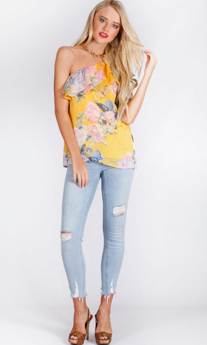 RV1056-1SS One Shoulder Floral Chiffon Top (Pack)
